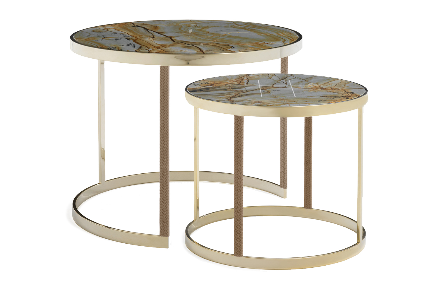 table basse gigogne ronde dor e amerigo milano. Black Bedroom Furniture Sets. Home Design Ideas
