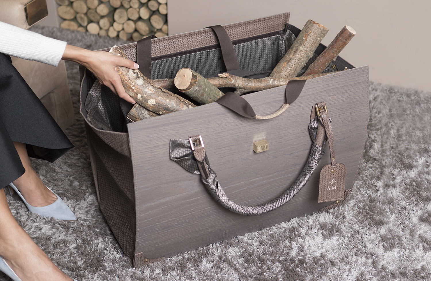 Indoor Log Holder Bag Lisamina Amerigo Milano